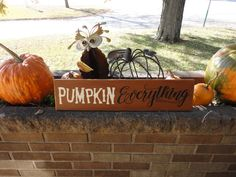 Items similar to Fall Sign / Pumpkin Everything / Fall Decor / Autumn Thanksgiving / Pumpkins Halloween / Wood Sign / Porch Patio / Home Decor / x on Etsy Wood Pumpkins, Painted Pumpkins, Fall Pumpkins, Halloween Pumpkins, Fall Halloween, Painted Wood Signs, Rustic Wood Signs, Thanksgiving Decorations, Halloween Decorations