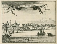 View of Nieuw Amsterdam Novum Amsterodamum In the centre of the picture a man is depicted hanging by his middle. This activity is comparable to the punishment meted out to runaway or recalcitrant slaves in South America (Surinam). Manhattan New York, Lower Manhattan, Oranjestad, Surakarta, Engraving Illustration, New Amsterdam, Cirebon, Maputo, Library Locations