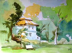 vintage villa... water color