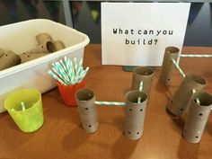 Best Science Toys For Kids - STEM Skills & Brain Growth Homemade tinker toys in the library - No budget? Use toilet paper or paper towel tubes and straws to make your own building components for a library center! Steam Activities, Preschool Activities, Diy Preschool Toys, Preschool Journals, Montessori Preschool, Tinker Toys, Paper Towel Tubes, Creative Curriculum, Curriculum Night