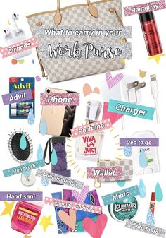 Carry all of these products in your work purse and you'll never be in a pinch! I definitely recommend a nice big tote with lots of pockets. Travel Bag Essentials, Road Trip Essentials, School Essentials, Airplane Essentials, Travel Packing Checklist, Road Trip Packing List, Packing Lists, What's In My Purse, Work Purse