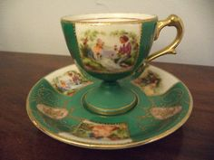 Vintage Romantic Portrait Hand Painted Gold Gilt Demitasse Tea Cup & Saucer C&S!