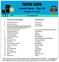 Check out this week's Island Heat Top 20 with a new number one song from Mack Meadows. Check out all of these songs when Mista Nevermind counts them down Friday at 5 PM ET and Saturday at 10 AM ET. tikipod.net #troprock #reggae
