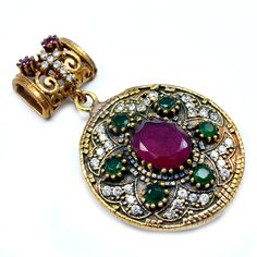 Silvesto India Ruby,Emerald And Topaz (Lab) 925 Sterling Silver With Bronze Pendant PG-7189  https://www.amazon.co.uk/dp/B01H5JD9WY