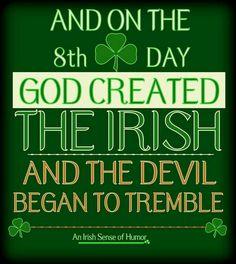 And on the day, God created the Irish… and the devil began to tremble Notre Dame Football, Irish Quotes, Irish Sayings, Irish Memes, Funny Irish, Irish Toast Funny, Fun Sayings, Irish American, American Women