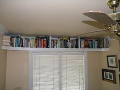 Book Shelf Above The Window. Great For Our Tiny Study! (Check The Bill Shelf  At IKEA)