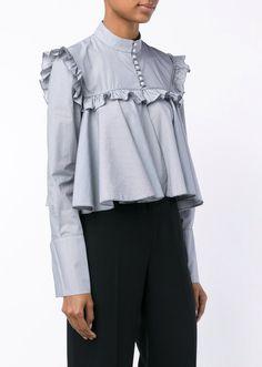 Browns Fashion - Stripe Ruffle Long Sleeve Blouse