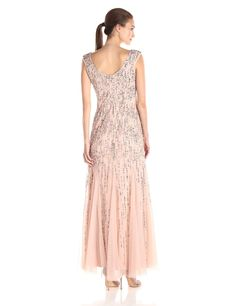 Adrianna Papell Womens Sleeveless Beaded Gown with Godets and Linear Beading