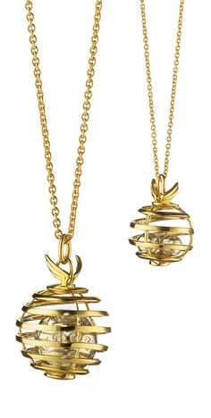 Monica Rich Kosann :: 18K Yellow Gold Creativity Mercury Charm Necklace (from the Planet Collection)