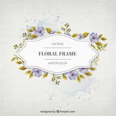 flores da aguarela do vintage e deixa o frame Vetor Premium