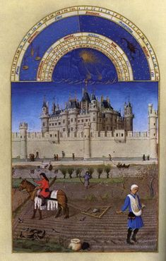 October illustration from the Labors of the Months, The Tres Riches Heures du Duc Berry (Book of Hours) ca, - In the background is the Louvre. Louvre Palace, Louvre Paris, Medieval Life, Medieval Art, Medieval Castle, Medieval Manuscript, Illuminated Manuscript, Renaissance Kunst, Medieval Paintings