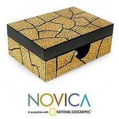 Eggshell Mosaic 'Crackled Gold' Decorative Box (Thailand)