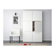 BESTÅ Mobile con ante - effetto noce mordente grigio/Djupviken bianco - IKEA