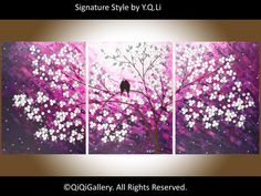 """54"""" Abstract Landscape Painting Original Modern Impasto Palette Knife Tree Flower Birds Wall Décor """"The Lavender Evening"""" by QIQIGallery"""
