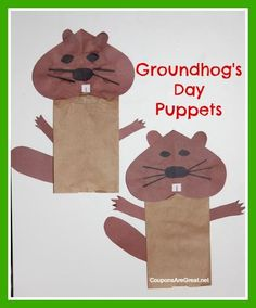 Make Groundhog Day Puppets using a paper bag and construction paper. Great puppet craft for Groundhog Day - preschool, elementary school, February 2 Preschool Groundhog, Groundhog Day Activities, Holiday Activities, Holiday Crafts, Spring Crafts, Preschool Projects, Daycare Crafts, Classroom Crafts, Preschool Activities