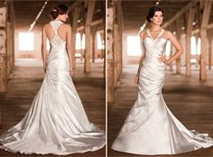 Essense of Australia, Dress 1291, Diamond Organza Gown with lace back detail.