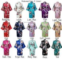 Set of 8 bridesmaid robes gowns bride robe wedding party robes satin robe kimono 15 colours! August 12 2015 at 10:33PM