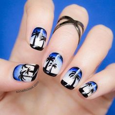 cool Creamy Beige and Blue Nail Art 2016 | Fashion Te