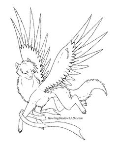 Winged Wolf Angel Coloring Pages | 00 | Pinterest ...