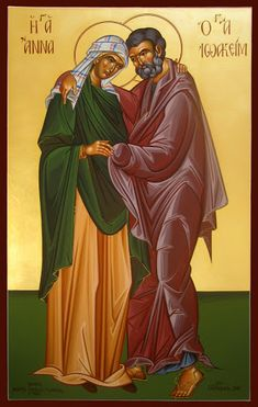 Sts Joachim & Anna - Conception of the Theotokos / O Aσπασμός των Αγίων Ιωακείμ κ´ Άννης, The Embrace of Saints Joachim and Anne, Объятия святых Иоакима и Анны Writing Icon, St Constantine, Andrew The Apostle, Luke The Evangelist, Archangel Raphael, Raphael Angel, Church Icon, Jesus Christus, The Embrace