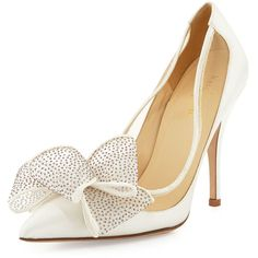 kate spade new york lovely satin bow pump ($375) ❤ liked on Polyvore featuring shoes, pumps, heels, white shoes, ivory, glitter pumps, white high heel pumps, kate spade shoes and white glitter pumps