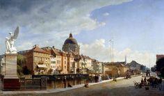 Eduard Gaertner - Alte Nationalgalerie. Ansicht der Rückfront der Häuser and der Schloßfreiheit/Rear View of the Houses at Schloßfreiheit (1855) | por lack of imagination