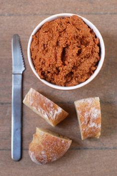 The most typical way of serving muhammara is with pitas or lavash, but it is just as good on sliced baguette, and it is an absolute delight plopped onto thickish slices of cucumber.