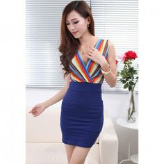 Charming Plunging Neck Colourful Stripes Sleeveless Women's Bodycon Dresses, BLUE, ONE SIZE in Bodycon Dresses | DressLily.com