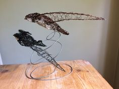 Swifts Alpine and common wire Bird Sculpture by Paul Green