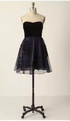 dab0430caa NWT Floreat 0 Anthropologie Navy Black Velvet Strapless Dress Belle Of The  Ball  fashion