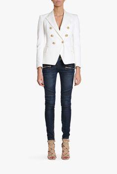 Double-breasted cotton-blend blazer | Women's blazers | Balmain