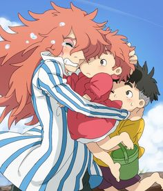 Cute pic, but... There are two things wrong with this pic. 1: from what I can remember, Fujimoto wasn't very emotional at all when he saw Ponyo again. 2: Fujimoto would NEVER hug a human.