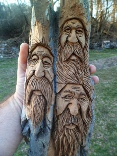 Welcome to my world of wood spirits and chainsaw carvings! Yes I carved them . Welcome to my world of wood spirits and chainsaw carvings! Yes I carved them myself, and I will be posting many more on these pages. My name is Kevi. Wood Carving Faces, Dremel Wood Carving, Wood Carving Designs, Tree Carving, Wood Carving Patterns, Wood Carving Art, Wood Art, Wood Carvings, Wooden Walking Canes