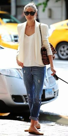 White blazer and top with boyfriend jeans