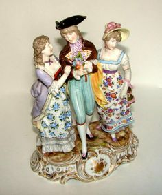 Dresden porcelain figural group. Gentleman and two ladies in 18th century dress. Volkstedt. 18th C.