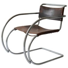 Unusual And Rare 1930's Ludwig Mies Van Der Rohe Leather Armchair For Thonet