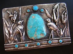 Native American 66 gram Sterling Buckle of Crows in a Corn Field w/ King's Manassa Turquoise.