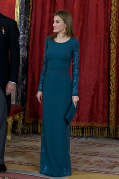 MADRID, SPAIN - FEBRUARY 05:  Princess Letizia of Spain attends the annual Foreign Ambassadors reception at the Royal Palace on February 5, 2014 in Madrid, Spain.  (Photo by Antonio Gutierrez - Pool/ Getty Images)