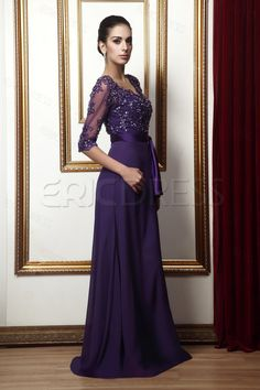Delicate Lace A-line Empire Waist V-Neck 3/4-Sleeves Mother Dress Mother of the Bride Dresses 2014- ericdress.com 10191042
