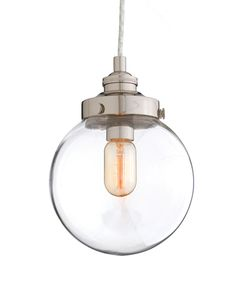 Arteriors Reeves Small Polished Nickel|Glass Pendant