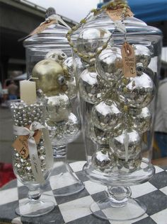 Love the silver Christmas balls in the jars