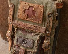Industrial Traveling Bag - Post Apocalyptic Holster Bag - Dystopian Waist Bag - Leather Unisex Purse