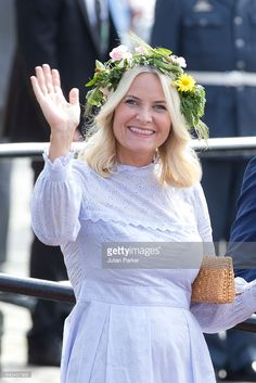 Crown Princess Mette-Marit, of Norway departs for the Norwegian Royal Yacht, KS Norge, after a day of events in Trondheim, during the King and Queen of Norway's Silver Jubilee Tour, on June 23, 2016 in Trondheim, Norway.(Photo by Julian Parker/UK Press via Getty Images)