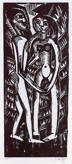 Karl Schmidt-Rottluff [Alemania 1884\1976] > Liebespaar > 1918 > woodcut > 70.8x39cm.