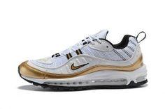 more photos 234ab 18d3c Mens Nikelab Air Max 98 Running Shoes UK GMT Summit White Metallic Gold  AJ6302 100