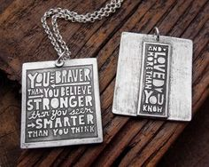 """You are Braver Than You Believe Necklace"" by Lulu Bug (front and back)- great gift idea"