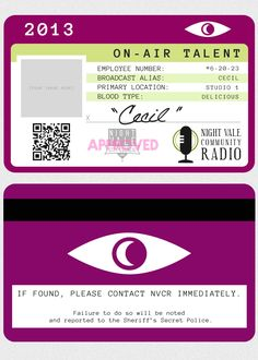 Night Vale Community Radio station ID cards, now downloadable for your cosplay needs!
