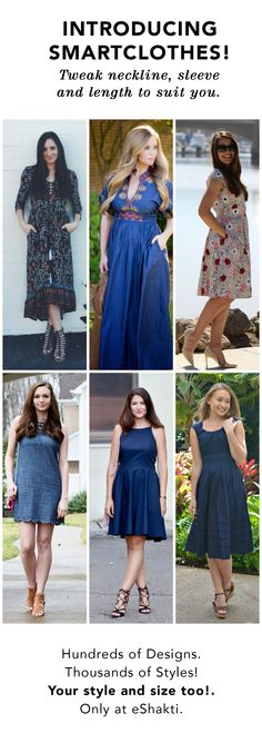 Now Clothes Made to Your Style - Change Neckline, Sleeve or Length! With pocket options, too! Only at eShakti. See custom-styling options used by customers! #RealFashionForRealPeople