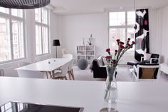 Living and dining room seen from the kitchen Boconcept, Marimekko, Dining Room, Loft, Interior, Kitchen, Flowers, Living Room, Cooking