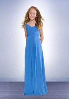 Chiffon Scoop A-line Long Junior Bridesmaid Dress - Bridesmaid - WHITEAZALEA.com